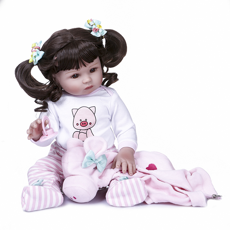 47cm Full Body Silicone Vinyl Reborn Toddler Girl Doll Curly Hair Lifelike Toy