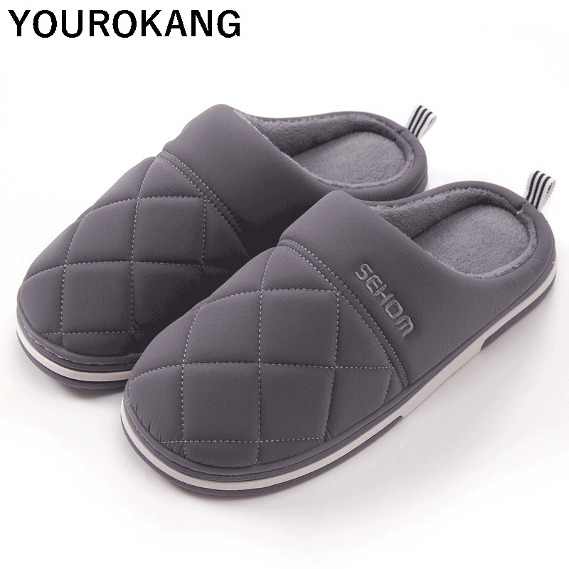 Winter Men Home Slippers Indoor Bedroom Warm Plush Male Slippers 2019 New Arrival Couple Household Cotton Shoes Non-slip Furry