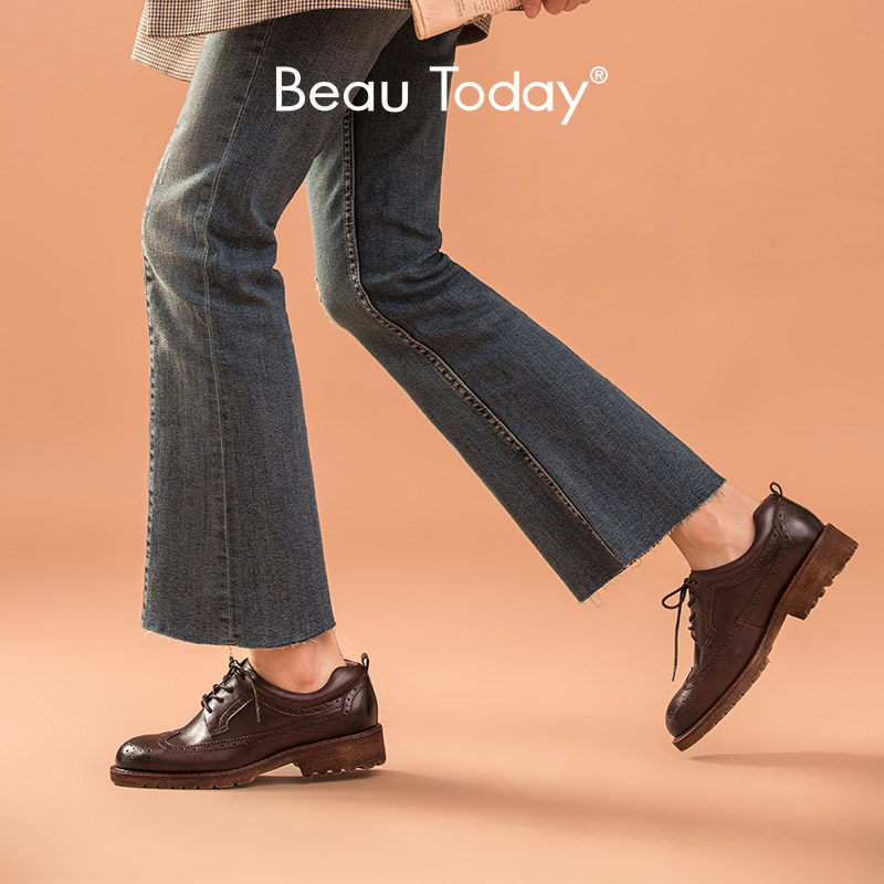 BeauToday Brogues Shoe Women Genuine Cow Leather Wingtip Fretwork Round Toe Lace-Up Flat Derby Shoes Handmade 21457