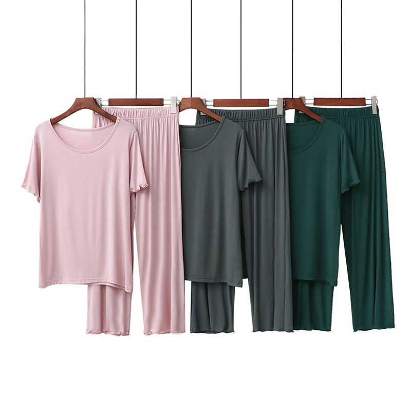 Large Size Loose Soft Modal Summer Home Clothes For Women 2 Pieces Set Plus Size Homewear Female Pajamas Set Ladies Sleepwear