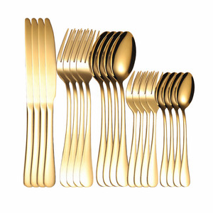 Kitchen Tableware Set Stainless Steel Cutlery 20 Pieces Gold Cutlery Set Forks Spoons Knifes Dinnerware Set Gold Tea Fork New(China)