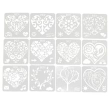New 12Pcs Flower Heart Drawing Molds Plastic Children Painting Stencils DIY Paper Art Craft Card Label Scrapbook Bookmark Toy