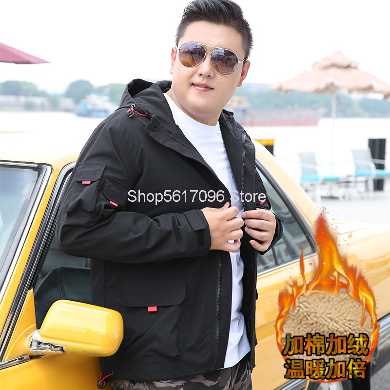 2020 Autumn Super Fat Man Men's Wear Coat Plus Fat Plus Size Loose Obesity People Fat Tooling Jacket