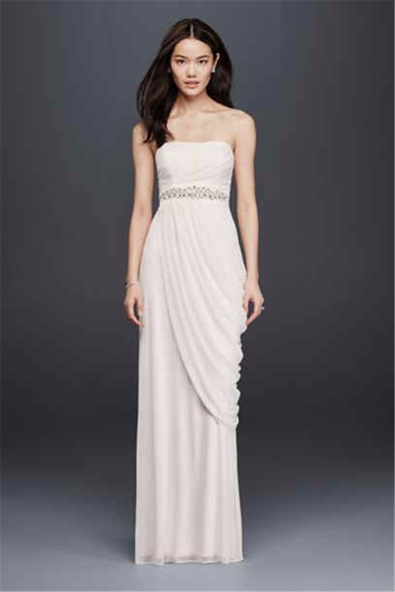Sweetheart Sheath Floor Length Wedding Dresses Spring Crystal Waist Draped Bridal Gowns Custom Made Spring Bride Wedding Gown