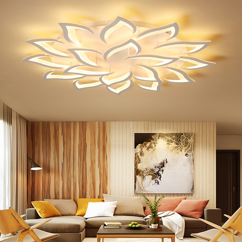 New LED Chandelier For Living Room Bedroom Home Chandelier White&black LED Flower Light By Sala Modern Home Lamp Lighting