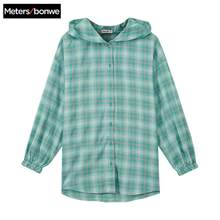 Metersbonwe hooded Shirt Women'S Clothing Blouse 2020 New Spring Summer Trend personality Student Clothing Loose plaid shirt(China)