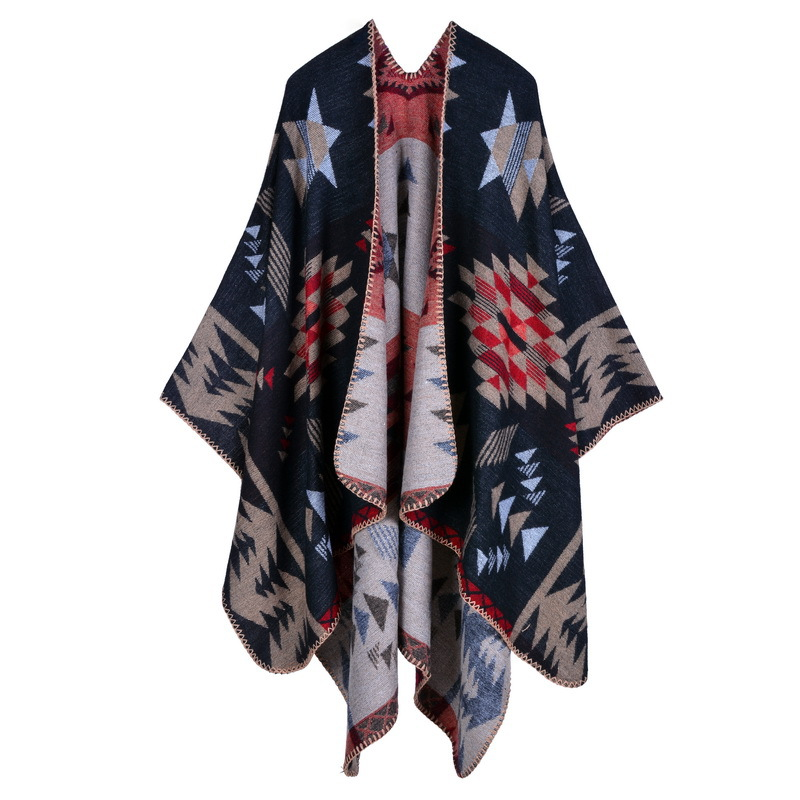 Luxury Brand Geometric Ponchos 2019 Cashmere   Scarves   Women Winter Warm Shawls and   Wraps   Pashmina Thick Capes blanket Femme   Scarf