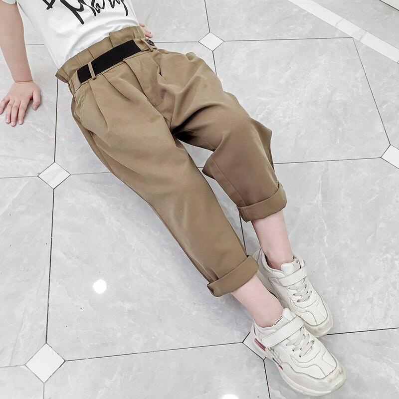 criancas menina calcas da crianca do verao criancas elastico plissado cintura com cinto baggy calcas elegantes