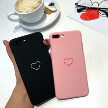 cute phone case for iPhone 6 6s 6Plus 6sPlus 7 7Plus cover 8 8Plus X XR XSMAX  hard pc frosted heart pattern couple