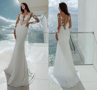 Sexy Sheer Boho Satin Wedding Dresses Beach Long Sleeve Bohemian Bridal Wedding Dress Bride Mermaid Wedding Gowns 2019