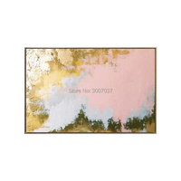 Golden and pink Paint handpainted oil Canvas Painting Abstract Wall Picture For Living Room Bedroom Morden Home Pop Art Cuadros