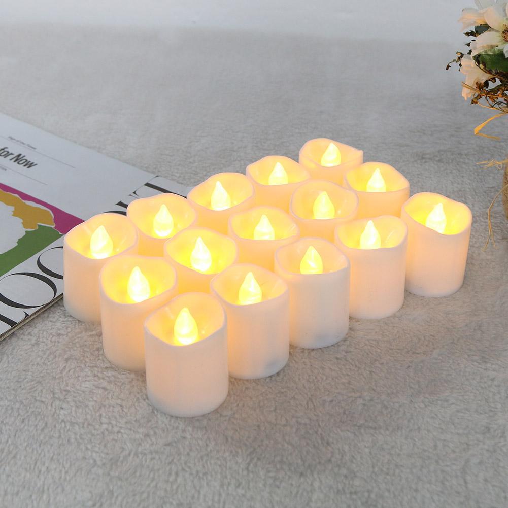 12pcs/set Warm LED Candle Light Flickering Tea Light Bulb Flameless Fake Candle Festival Wedding Celebration Decoration