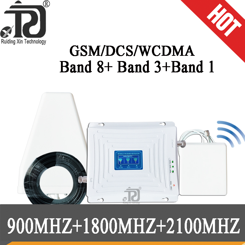 Tri Band GSM 900 4G DCS/LTE1800 3G WCDMA2100mhz Cellular Signal Booster 2G 3G 4G Signal Repeater Cell Phone Signal Amplifier