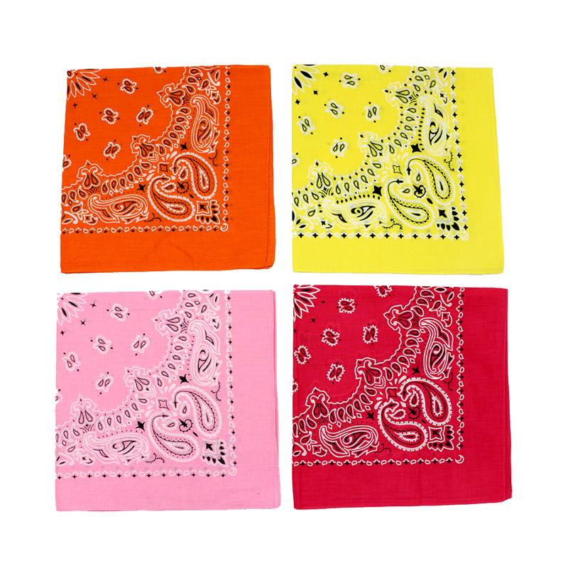 Bright Spring Summer Color Paisley Headscarves Cotton Bandana For Women Girl Heawear Pink Rose Yellow Orange Hair Bands