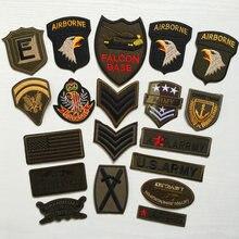 Super qualidade 9 pçs conjuntos militares remendos bordados para roupas listras costurar ferro no remendo de roupas da motocicleta do exército apliques