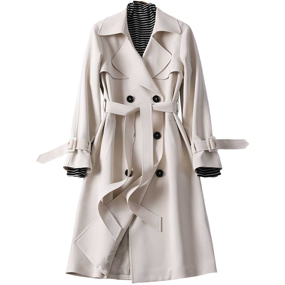 2020 New British Women Long Trench Coat Autumn Spring Elegant OL Coats Fashion Double-breasted Slim Belt Outwear High Quality