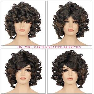 Image 4 - Afro Parrucca Sintetica Fibra Resistente Al Calore capelli Nero Naturale Breve Ricci Parrucche Dei Capelli Per Le Donne Nere