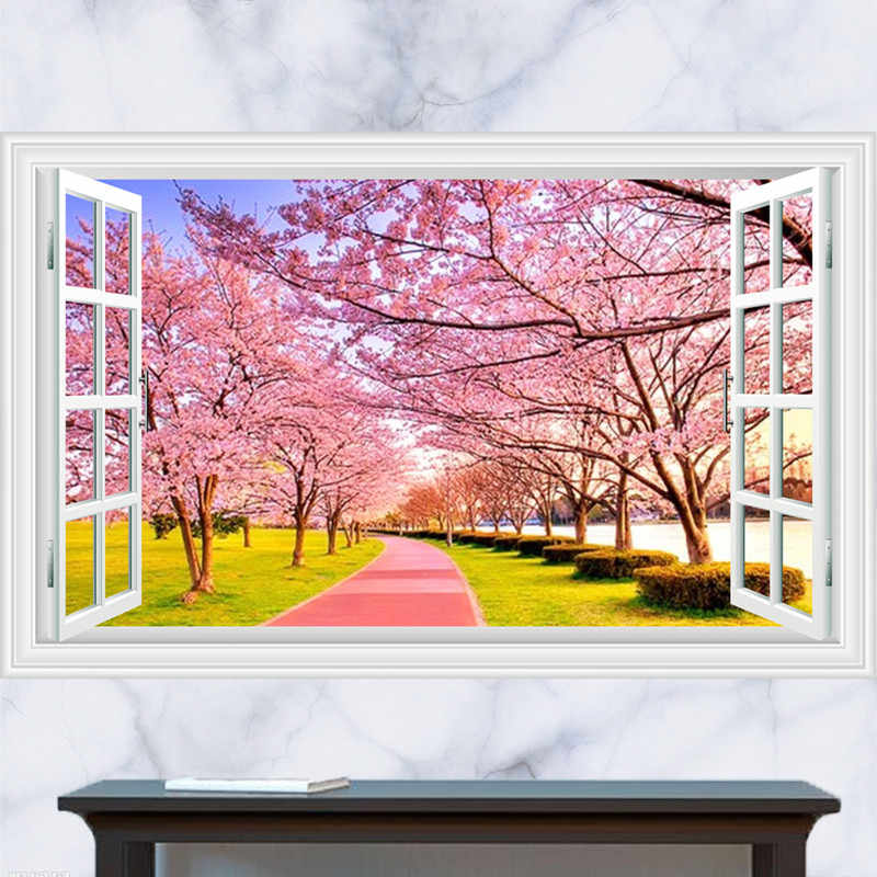 3d Fake Window Landscape Wall Stickers Japanese Cherry Blossom Wallpaper Living Room Kitchen Removable Decals Home Decorations Aliexpress