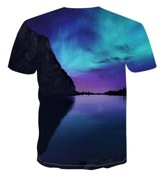 ¡Novedad de 2020! Camiseta estampada creativa de moda estrellada Aurora en 3D para hombre, ropa de tendencia clásica multifuncional de manga corta para hombre