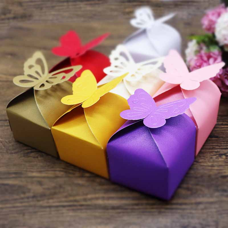 2019 New Free Shipping Wedding 10 Pcs Favorate Gift Candy Box 7 Color For Butterfly Shaped Candy Box Small Size 6x6x4cm Cute Box