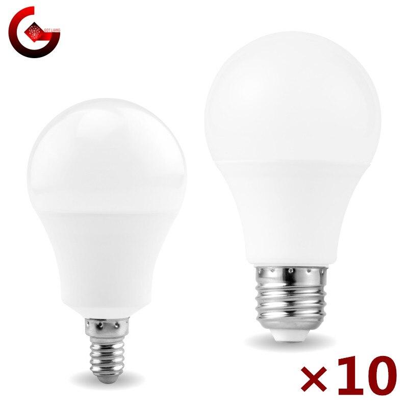 10 pçs/lote Lâmpada LED E27 E14 20W 18W 15W 12W 9W 6W 3W Lampada LEVOU Luz AC 220V Bombilla Iluminação Spotlight Frio/Branco Quente Lâmpada