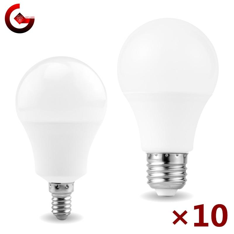Светодиодная лампа E27 E14 10 шт./лот, 20 Вт 18 Вт 15 Вт 12 Вт 9 Вт 6 Вт 3 Вт, светодиодная лампа для прожектора, 220 В переменного тока, лампа для холодного/...