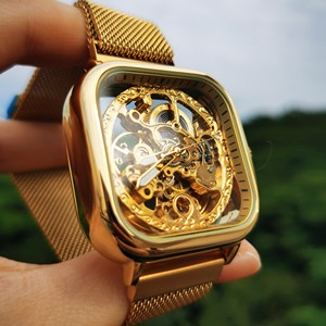 Image 2 - FORSINING למעלה יוקרה מותג שעונים Mens אוטומטי מכאני מגנט רצועת אופנה רויאל שקוף שלד שעוני יד שעון мужские