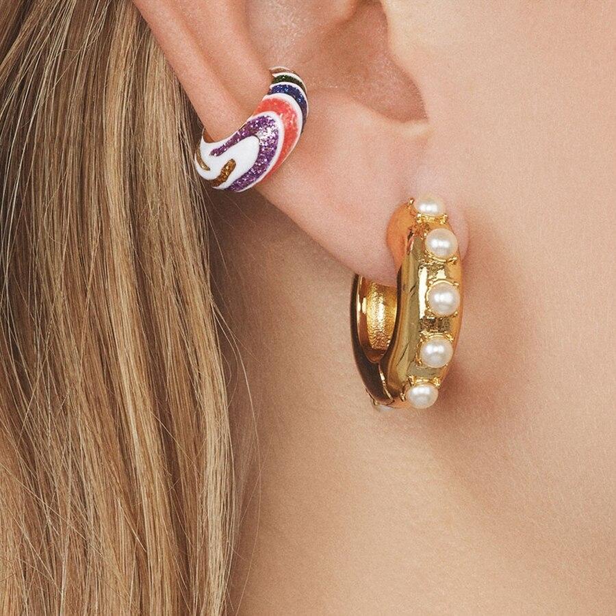 Itenice Multicolor Enamel C-shaped Stud Earrings For Women Rainbow Color Sequins Geometric Metal Ear Cuff Jewelry Accessories