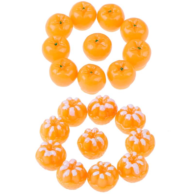 10pcs Dollhouse Miniature Model Simulation Fake Orange Fruit Kitchen Decor Gift 1/12