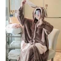 HaloSweet Winter Women Warm Coral Fleece Bathrobe Flannel Thick Flannel Thermal Bath Robe Cute Kimono Dressing Gown Two Pieces