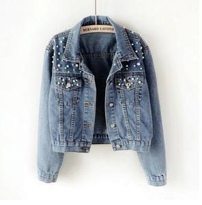 Женская короткая джинсовая куртка с бусинами размера плюс 3Xl 5Xl, белая джинсовая куртка с длинным рукавом, винтажная Повседневная джинсовая ...