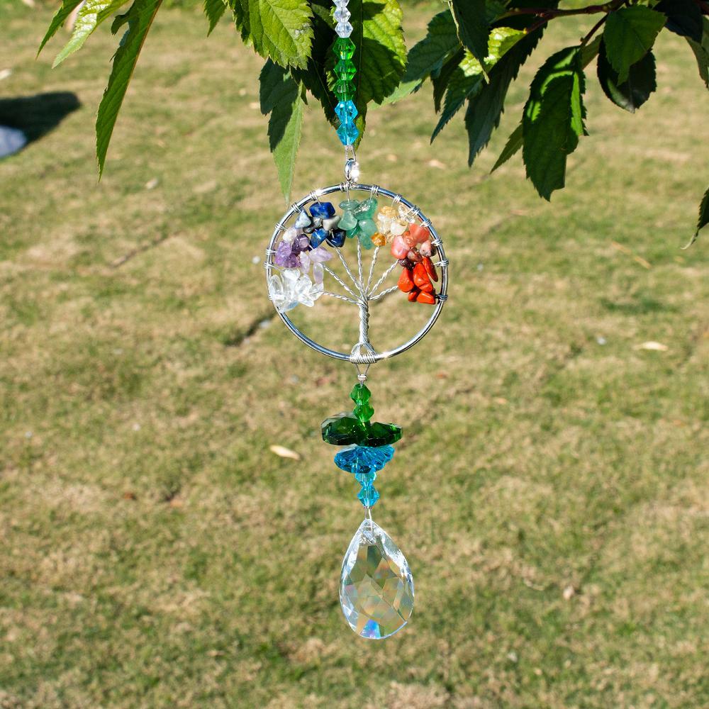 Ev ve Bahçe'ten Bahçe Güneş Tutucuları'de H & D kristal Suncatcher hayat ağacı pencere süsleme 38mm kristal prizma gökkuşağı Maker güneş Catcher ev bahçe dekor