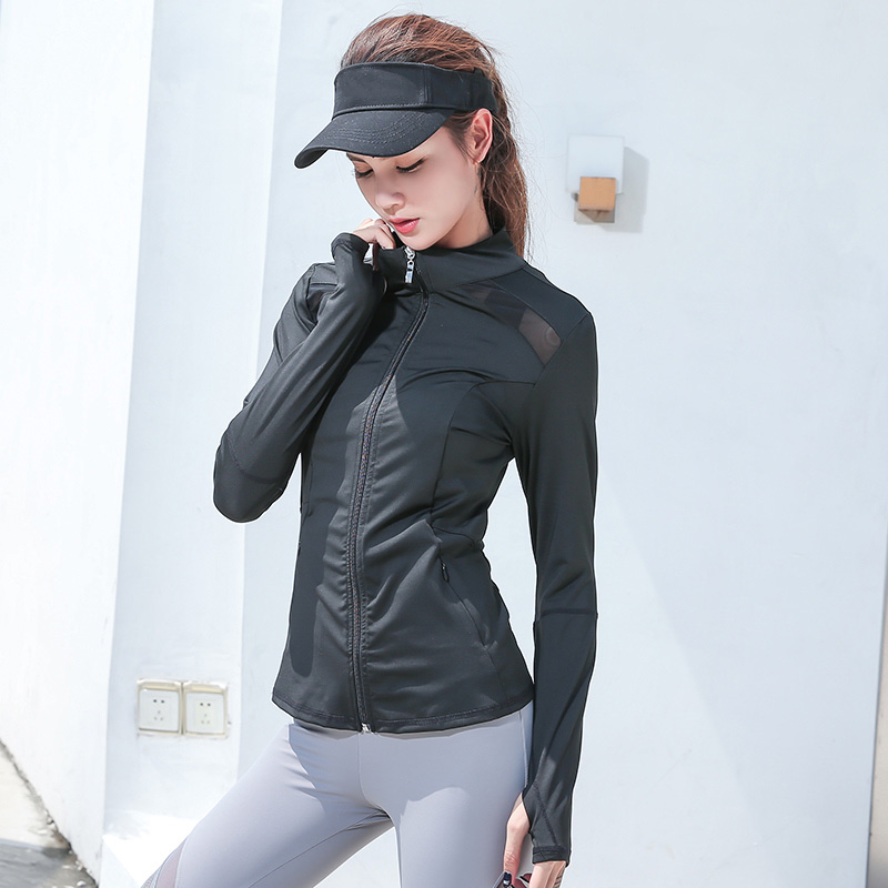 Image 5 - Womens Long Sleeve Sports Running Jacket Net Yarn Splicing Yoga Gym Fitness Tight Tops Quick Dry Breathable Sports Coat-in Running Jackets from Sports & Entertainment on AliExpress