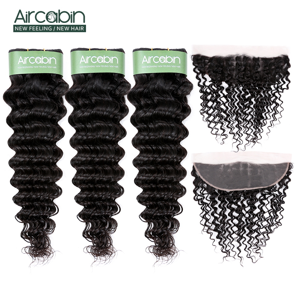 Aircabin Brazilian Hair Deep Wave Bundles With Frontal Lace Closure Remy Human Hair Extensions Weave Bundles And 13x4 Frontal