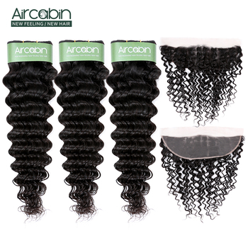 Aircabin Brazilian Hair Deep Wave Bundles With Frontal Lace Closure Remy Human Hair Extensions Weave Bundles And 13x4 Frontal aircabin hair body wave bundles with closure remy human hair extensions brazilian body weave bundles and lace closure