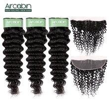 Бразильские волосы aircabin пряди глубоких волн с фронтальной