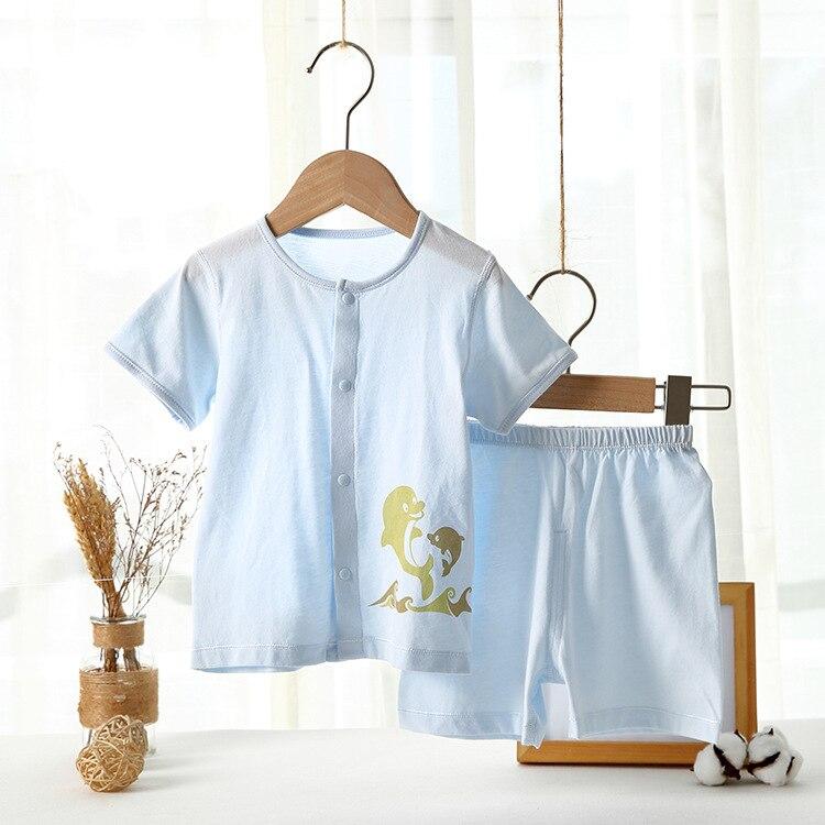 2019 летний детский комплект нижнего белья шорты с короткими рукавами с дельфинами хлопковый костюм для малышей 0-2 лет с пряжкой спереди