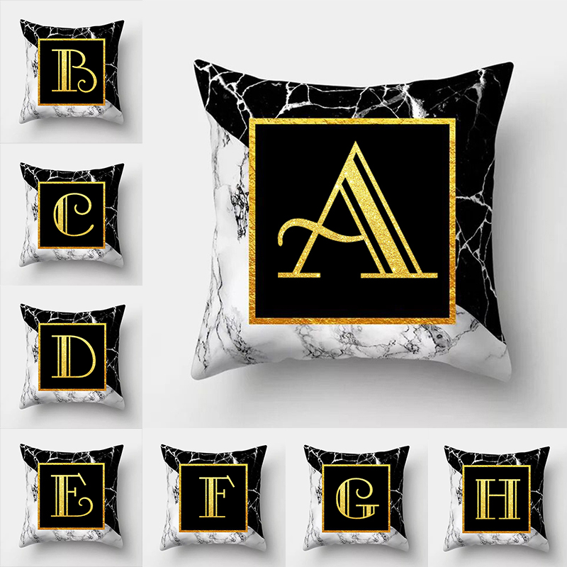 Throw Pillow Covers Letter Cushion Cover Nordic Decoration Home High Quality Marble Luxury Pillowcase For Pillow 50*50 cm