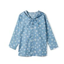 CupofSweet Light Denim Star Print Hooded Tunic Top Shirt Girls Kid Clothing Autumn Fashion Long Sleeves Casual Girl Top Hoodies arrow print tunic graphic top