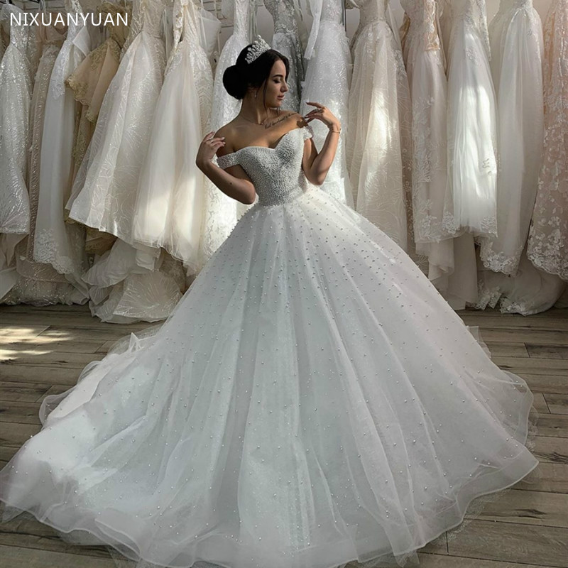 2020 Sweetheart Wedding Dress With Pearls Off Shoulder Dubai For Women Lebanon Bridal Gowns Tulle Elegant Muslim Gorgeous