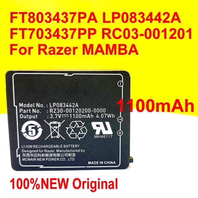 100% الأصلي تسليم المنزل FT803437PA Ip083442a بطارية ل Razer1 مامبا FT703437PP RC03 001201 الليزر اللاسلكي ماوس النجا ملحمة
