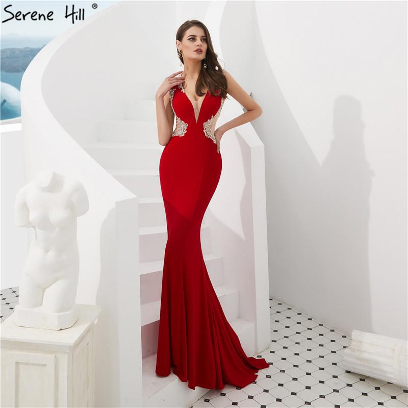 Red Deep-V Sexy Crystal Prom Dresses 2019 Sleeveless Illusion Back Prom Party Gowns Serene HILL LA6680