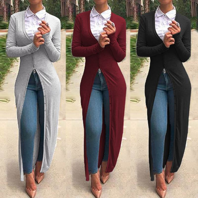 ZANZEA 2020 Spring Women V Neck Long Sleeve Cardigan Casual Buttons Down Outwear Maxi Long Shirt Female Solid Slim Blouse Blusa7