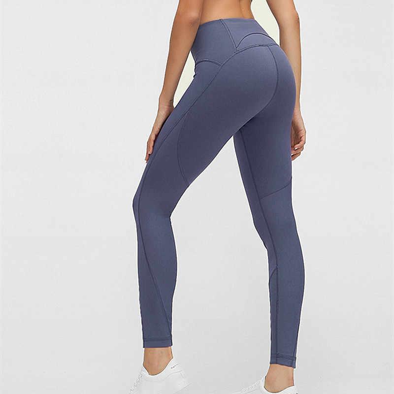 سراويل ليجانز رياضية جديدة ناعمة ذات ملمس عاري للنساء قابلة للتمدد عالية الخصر لممارسة التمارين الرياضية في صالة الألعاب الرياضية سروال يوجا ضيق يسمح بالتهوية