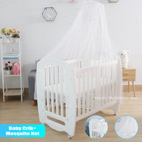 PE Material Crib for Infant, Mosquito Net Included, Multifunctional Game Bed for Kids from Newborn to 3ages, ALL IN ONE Baby Bed