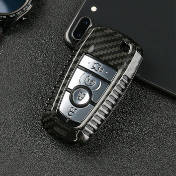 Carbon Fiber Remote Smart Key Case Cover For 2018 Ford Explorer EDGE Mustang