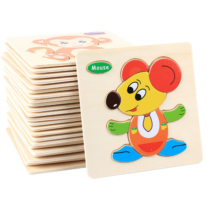 Infant Training Toys Wooden Puzzle Cartoon Traffic Animal 3D Puzzles Educational Developmental Jigsaw For Baby Kids Oyuncak A20