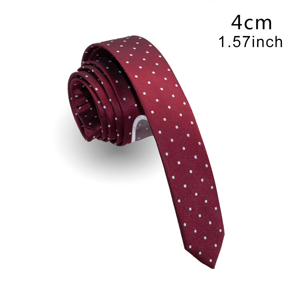 KAMBERFT Design Handmade 4cm Slim Solid Dot Tie Red Green Fashion Men Woven Skinny Necktie For Wedding Casual Party