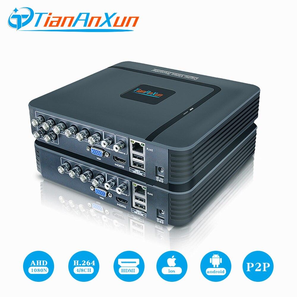 Tiananxun 4Ch ahd DVR 8ch H.264 Gravador De Vídeo Vigilância CCTV Sistema de Segurança 1080N Híbrido Mini dvr Para Analog Câmera Ip