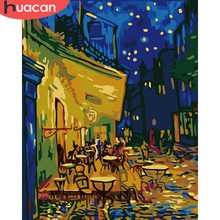 HUACAN DIY Pictures By Numbers Coffee Scenery Kits Drawing Canvas HandPainted Oil Painting By Number Cafe Landscape Home Decor(China)